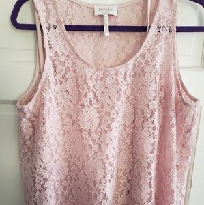 Dusty Rose Lace tank with silky shell